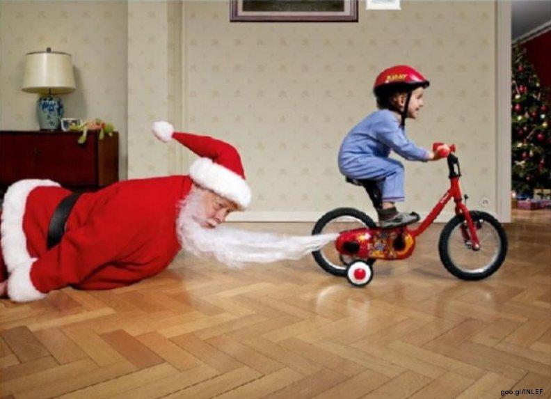 Babbo Natale In Bicicletta.Babbo Natale Divertente Bambino Bici Tira Barba Gallery